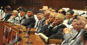 Prime  Minister and  top Parties leaders and  Lwamakers leastion  Baujet Speach  at Parliament at ICC Baneshwor in Kathmandu on  Saturday. Photo/ Shaligram Tiwari/ Kantipur/ Post